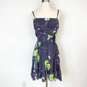 Free People Blue Floral Dress Tie back Size Large